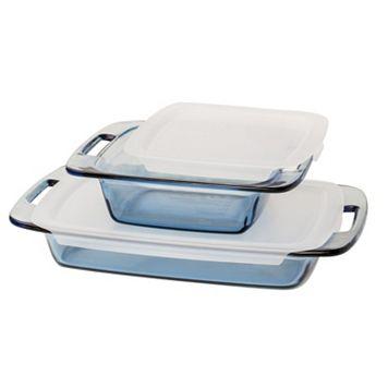 Pyrex 4-pc. Atlantic Blue Glass Bakeware Set