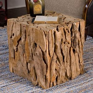 Teak Root Bunching Cube End Table