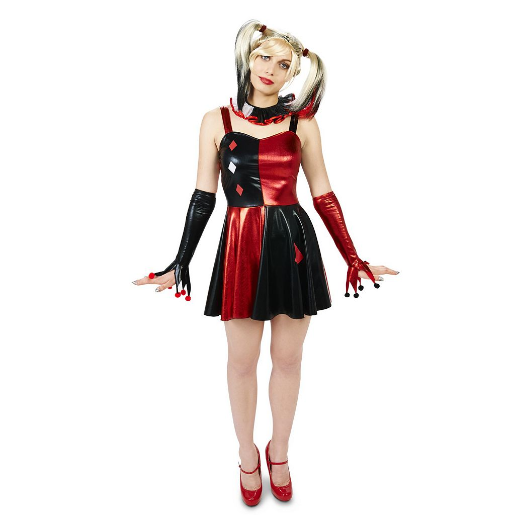 Adult Evil Harlequin Costume Dress & Wig Set