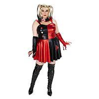 Adult Plus Evil Harlequin Costume Dress & Wig Set