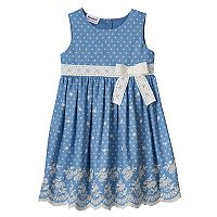 Toddler Girl Blueberi Boulevard Chambray Embroidered Hem Dress