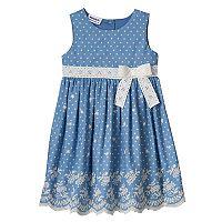Toddler Girl Blueberi Boulevard Chambray Embroidered Hem Dress