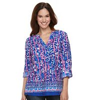 Women's Caribbean Joe Abstract Print Roll-Tab Top