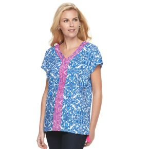 Women's Caribbean Joe Scroll Embroidered Top