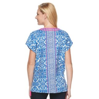 Women's Caribbean Joe Scroll Embroidered Top