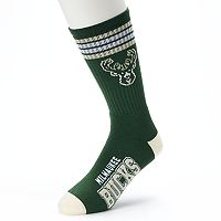 Men's For Bare Feet Milwaukee Bucks Deuce Striped Crew Socks