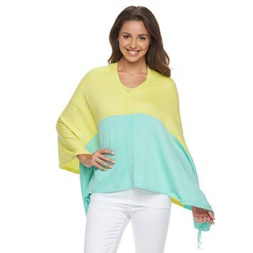 Women's Caribbean Joe Colorblock Sweater Poncho