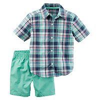 Toddler Boy Carter's Short Sleeve Plaid Shirt & Canvas Shorts Set