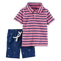 Toddler Boy Carter's Short Sleeve Striped Polo Shirt & Poplin Shorts Set