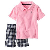 Toddler Boy Carter's Short Sleeve Pink Polo Shirt & Plaid Shorts Set