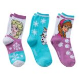 Disney's Frozen Anna, Elsa & Olaf Girls 4-6x 3 pkCrew Socks Gift Box