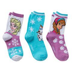 Disney's Frozen Anna, Elsa & Olaf Girls 4-6x 3 pkCrew Socks Gift Box