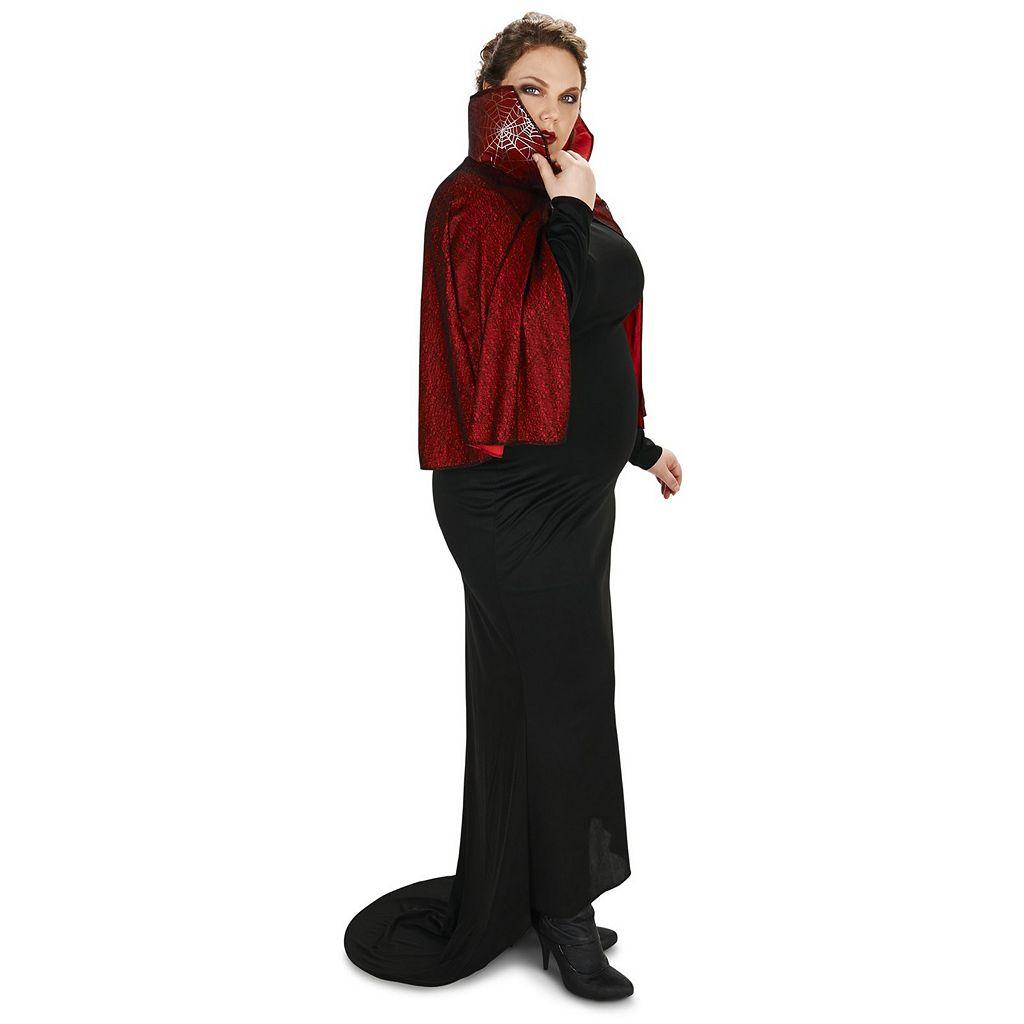 Adult Plus Seductive Vampire Dress with Capelet Costume