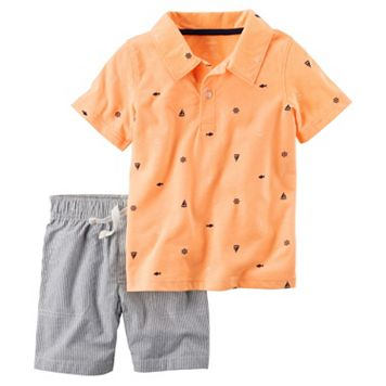 Toddler Boy Carter's Nautical Print Short Sleeve Polo Shirt & Striped Shorts Set