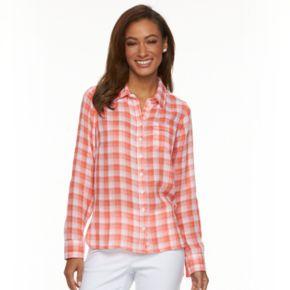 Women's Caribbean Joe Plaid Roll-Tab Shirt