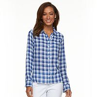 Women's Caribbean Joe Plaid Roll-Tab Shirt
