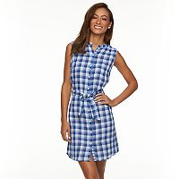 Women's Caribbean Joe Checkered Shirtdress