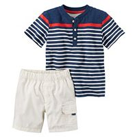 Toddler Boy Carter's Short Sleeve Slubbed Polo Shirt & Poplin Shorts Set