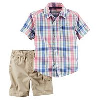 Toddler Boy Carter's Short Sleeve Plaid Button-Down Shirt & Khaki Cargo Shorts