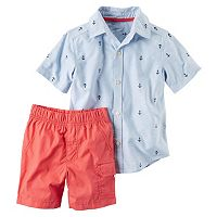 Toddler Boy Carter's Short Sleeve Anchor Print Button-Down Shirt & Shorts Set