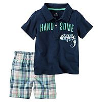 Toddler Boy Carter's Short Sleeve Embroidered Chameleon Polo Shirt & Plaid Shorts Set