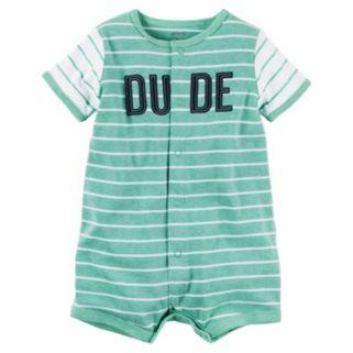 "Baby Boy Carter's ""DUDE"" Striped Romper"