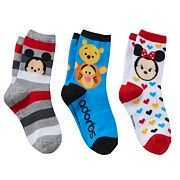 Disney's Tsum Tsum Mickey Mouse, Minnie Mouse & Winnie the Pooh Girls 4-6x 3 pkCrew Socks Gift Box