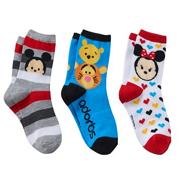 Disney's Tsum Tsum Mickey Mouse, Minnie Mouse & Winnie the Pooh Girls 4-6x 3-pk. Crew Socks Gift Box