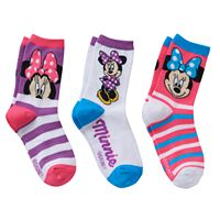 Disney's Minnie Mouse Girls 4-6x 3 pkCrew Socks Gift Box