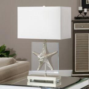 Metallic Silver Finish Starfish Table Lamp