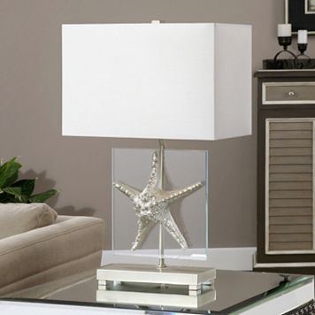 Metallic Silver Finish Starfish Table Lamp