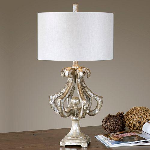 Vinadio Distressed Silver Leaf Finish Table Lamp