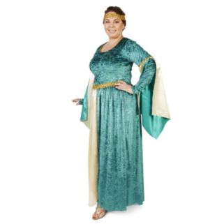 Adult Plus Medieval Teal Velvet Dress Costume