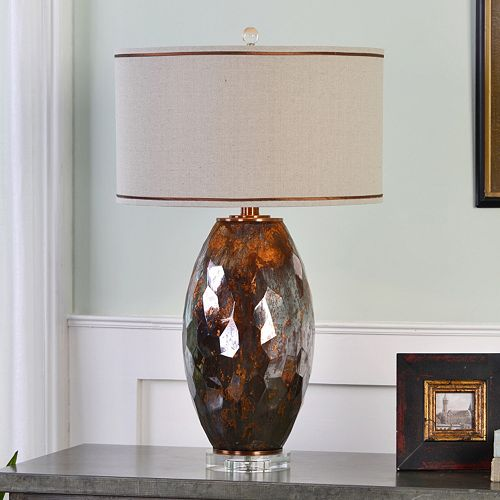 Sabastian Metallic Bronze Finish Mercury Glass Table Lamp