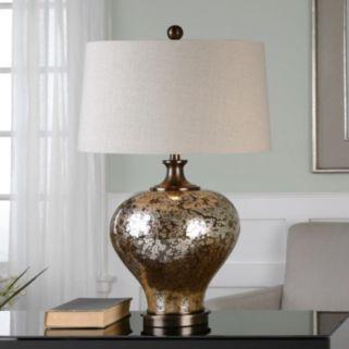 Liro Bronze Finish Mercury Glass Round Table Lamp