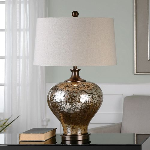 Liro Bronze Finish Mercury Glass Round Table Lamp