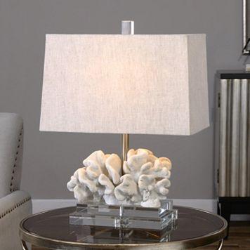Faux Coral Sculpture Table Lamp