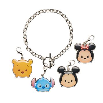 Disney's Tsum Tsum Stitch, Mickey Mouse, Minnie Mouse & Winnie the Pooh Charm Bracelet Set