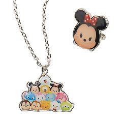 Disney's Tsum Tsum Necklace & Minnie Mouse Ring Jewelry Set