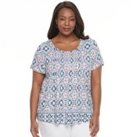 Plus Size Croft & Barrow® Pintuck Scoopneck Tee