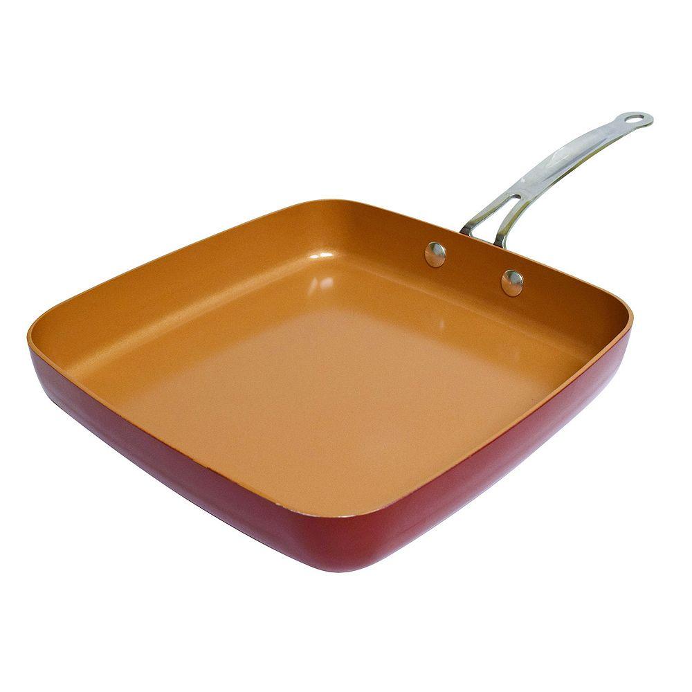Red Copper  Ceramic Copper  Fry Pan  12 in Red