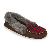 Dearfoams Women's Chalet Checkered Memory Foam Moccasin Slippers
