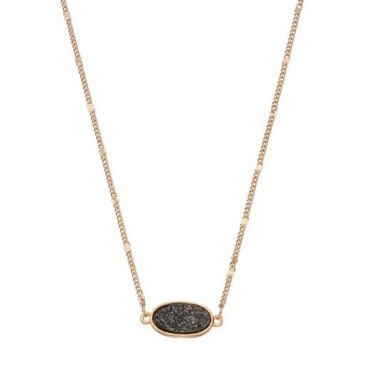 LC Lauren Conrad Black Simulated Drusy Necklace