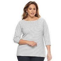 Plus Size Croft & Barrow® Ribbed Stripe Top