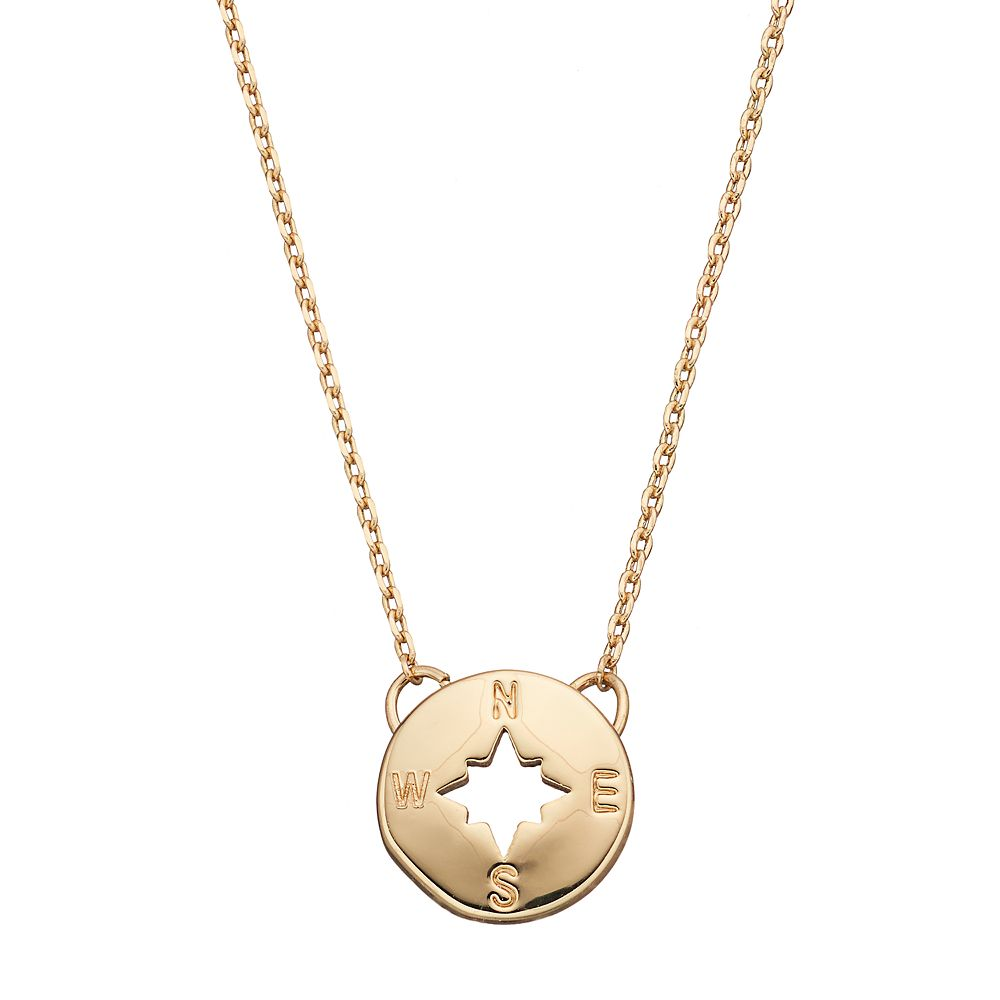 pendant compass gold necklaces rose boutique happiness necklace en