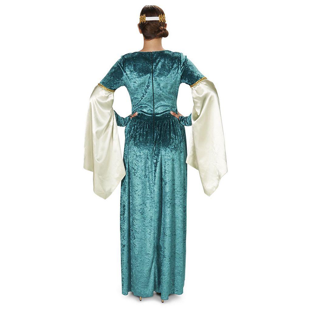 Adult Medieval Teal Velvet Dress Costume