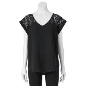Juniors' Miss Chievous V-Neck Lace Yoke Top