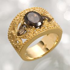 Simply Vera Vera Wang 18k Gold-Over-Silver Smoky Topaz & Diamond Ring :  fashion accessory ring designer rings