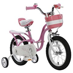Girls Royalbaby Little Swan 14-Inch Training Wheel Bike with Basket