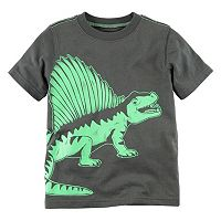 Toddler Boy Carter's Short Sleeve Gray & Green Dinosaur Graphic Tee